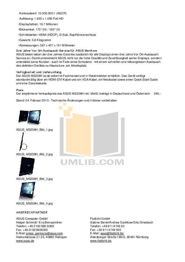 Asus Monitor MS238H pdf page preview