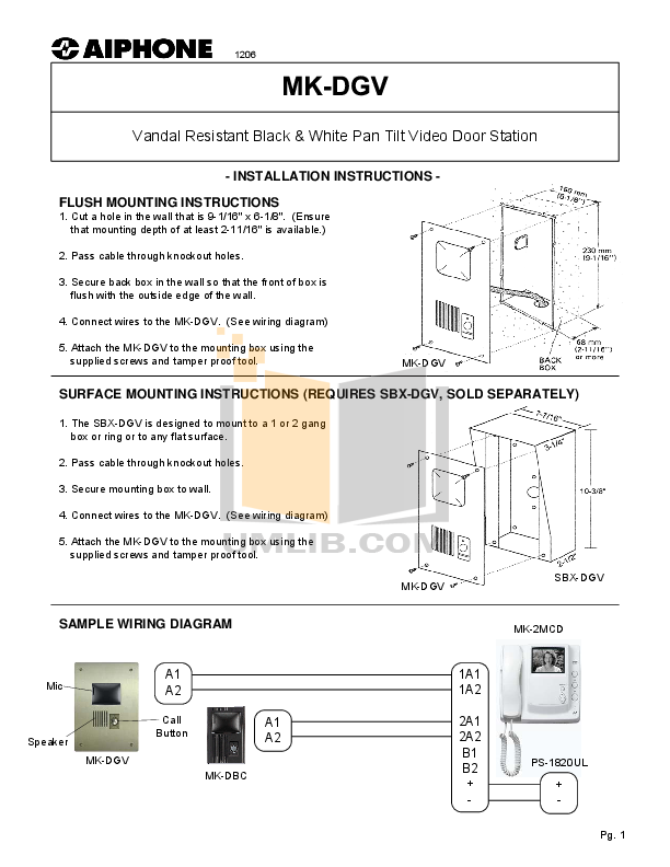 pdf for Aiphone Other MK-DGV Intercoms manual
