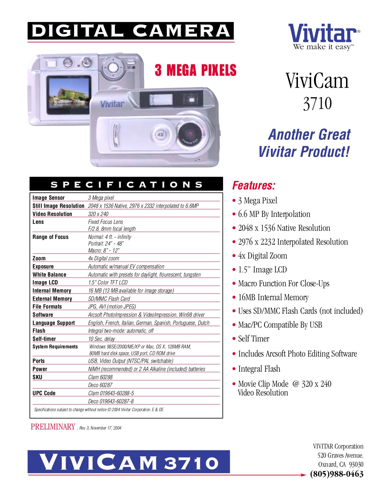 Download free pdf for Vivitar Vivicam 3710 Digital Camera manual