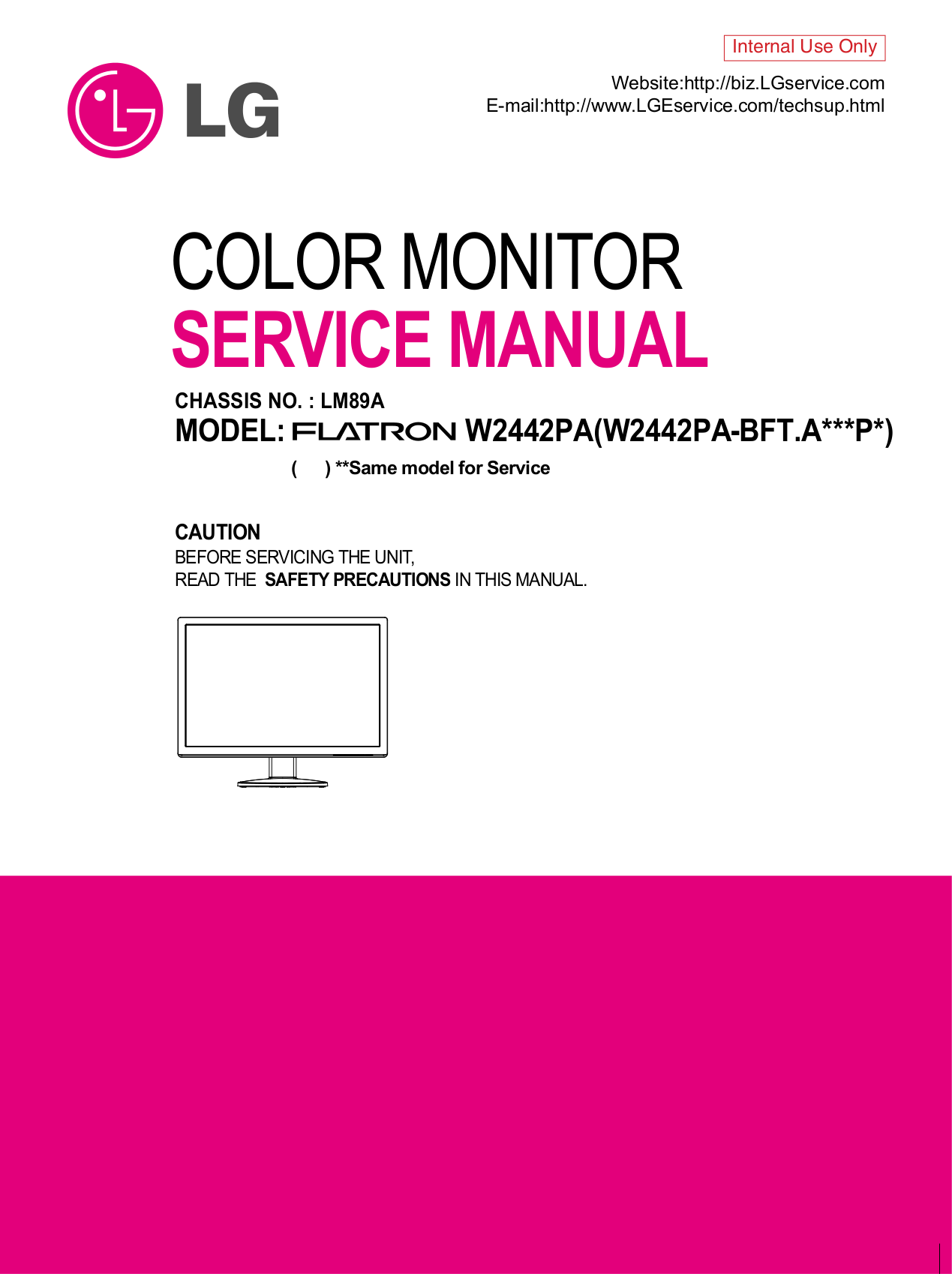 pdf for LG Monitor W2442PA manual