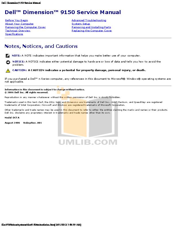download free pdf for dell dimension 9150 desktop manual rh umlib com dell dimension 9150 user manual dell dimension 9150 manual pdf