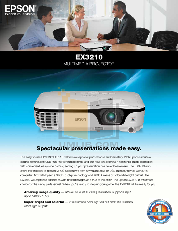 pdf for Epson Projector EX3210 manual