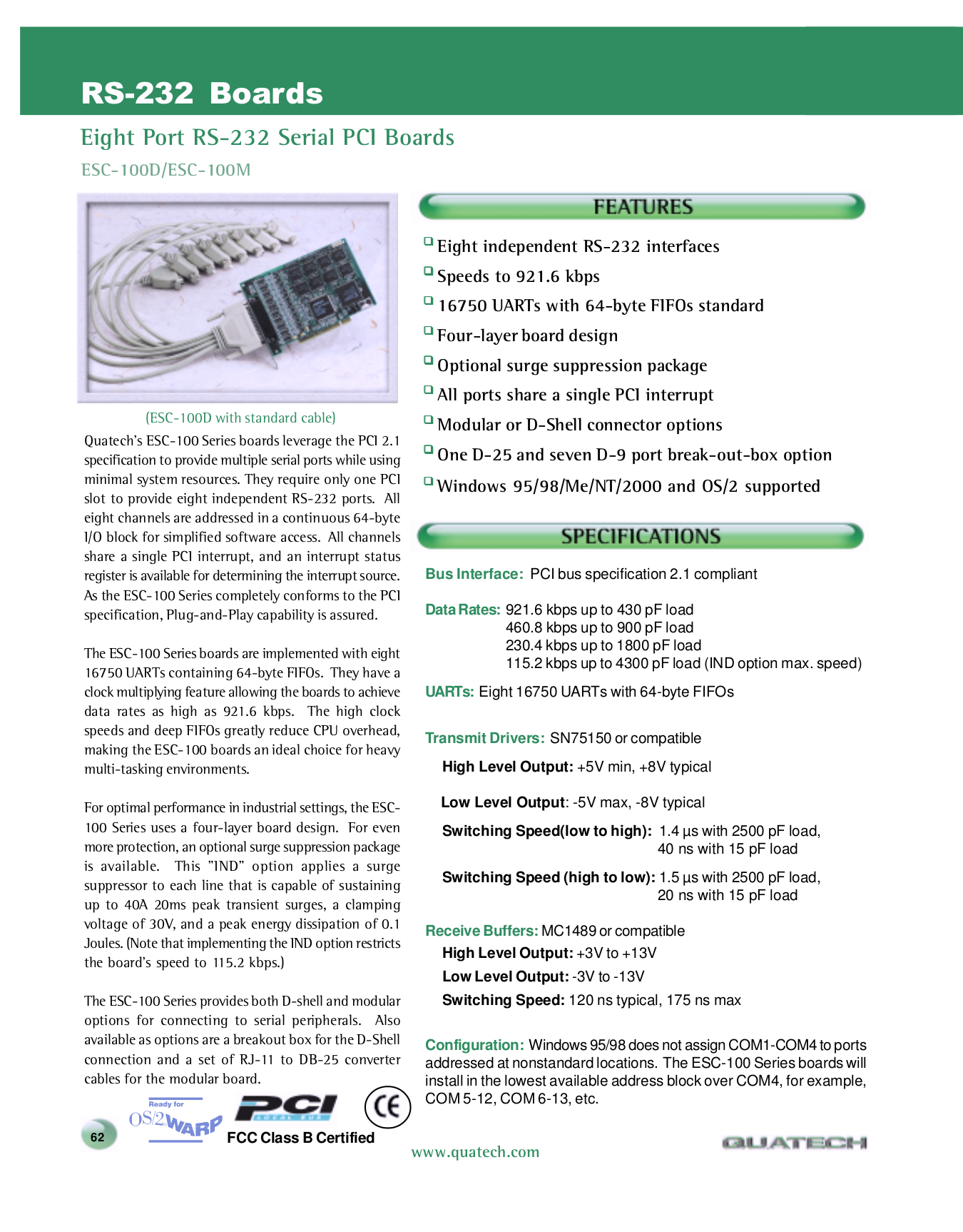 pdf for Quatech Other ESC-100M PCI Serial Boards manual