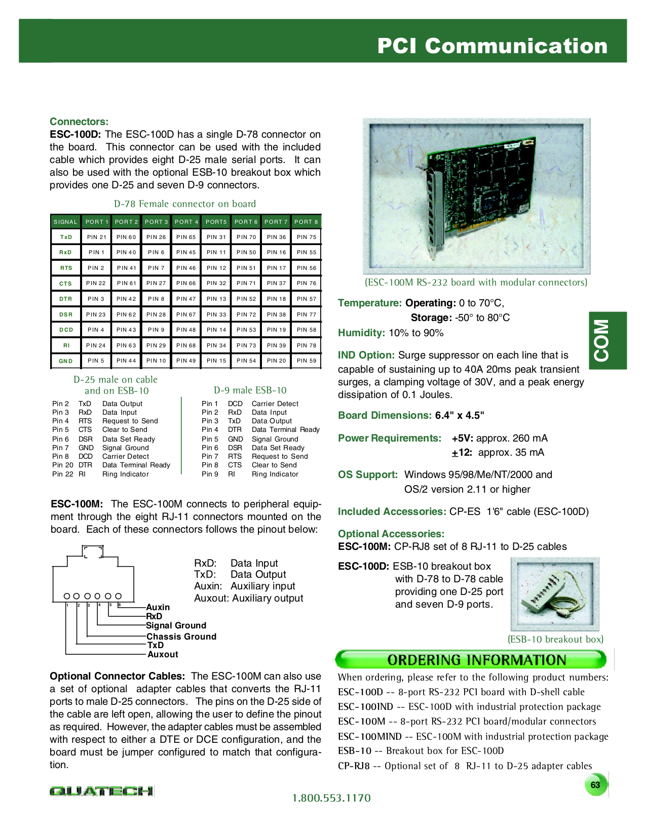 Quatech Other ESC-100M PCI Serial Boards pdf page preview