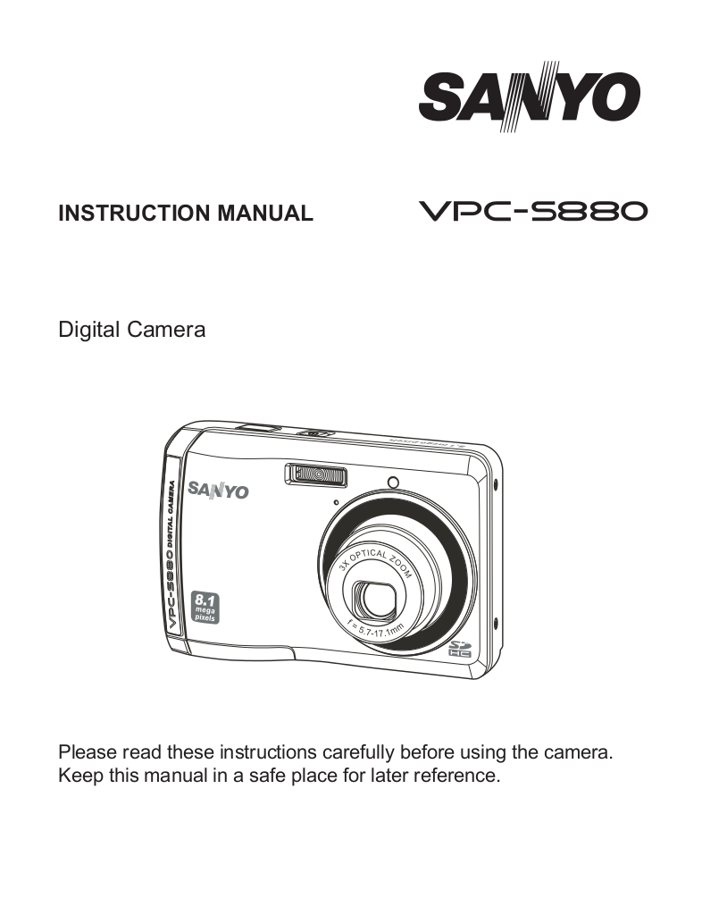 pdf for Sanyo Digital Camera Xacti VPC-S880 manual