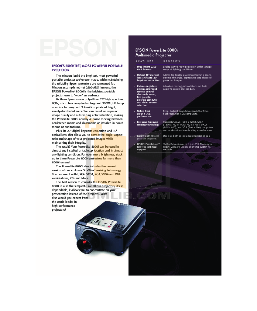pdf for Epson Projector PowerLite 8000i manual
