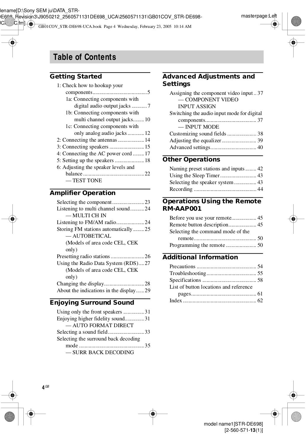 PDF manual for Sony Receiver STR-DE698