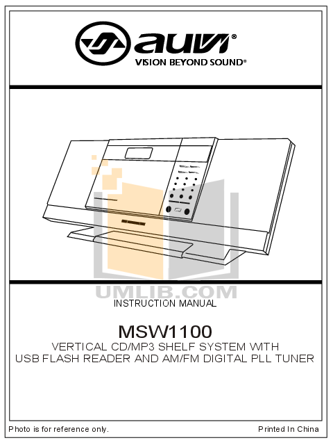 pdf for Auvi Other MSW1100 Audio Systems manual