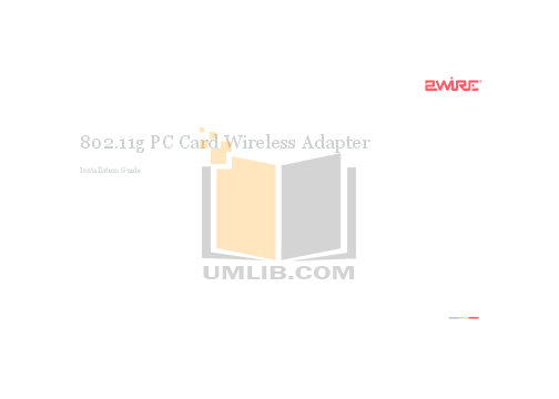pdf for 2wire Other Wireless PC Card Adapter manual