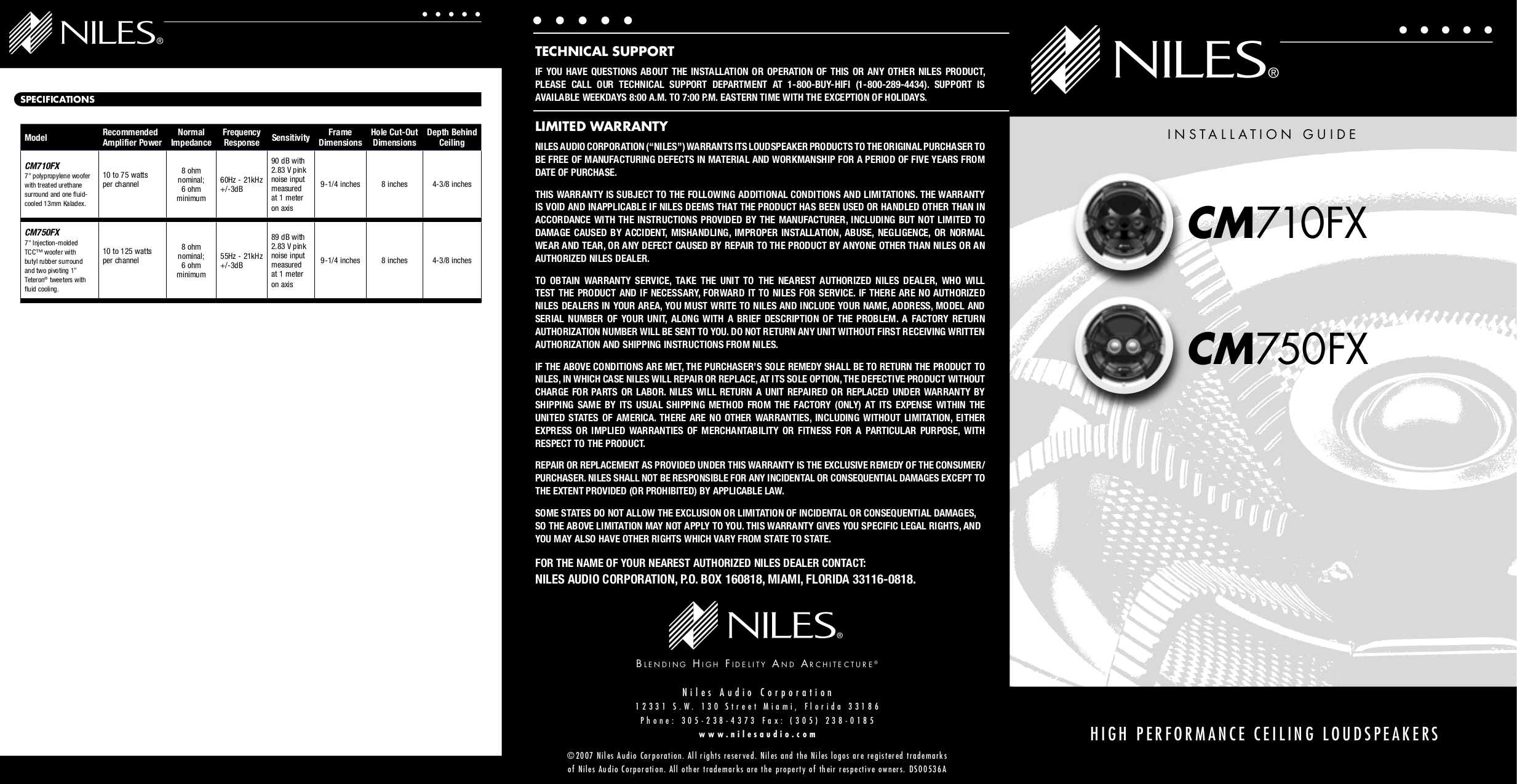 pdf for Niles Speaker CM710 manual
