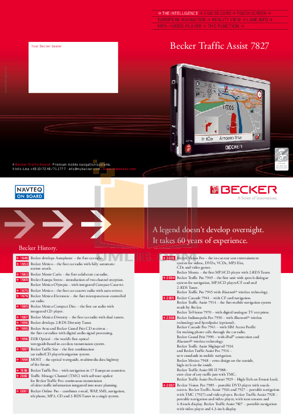 pdf for Becker GPS 7827 manual