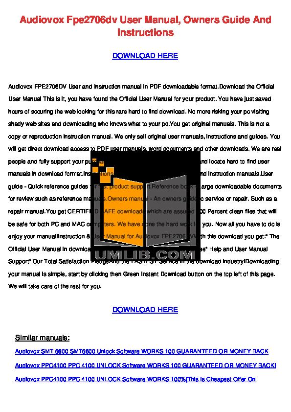 pdf for Audiovox TV FPE2706DV manual