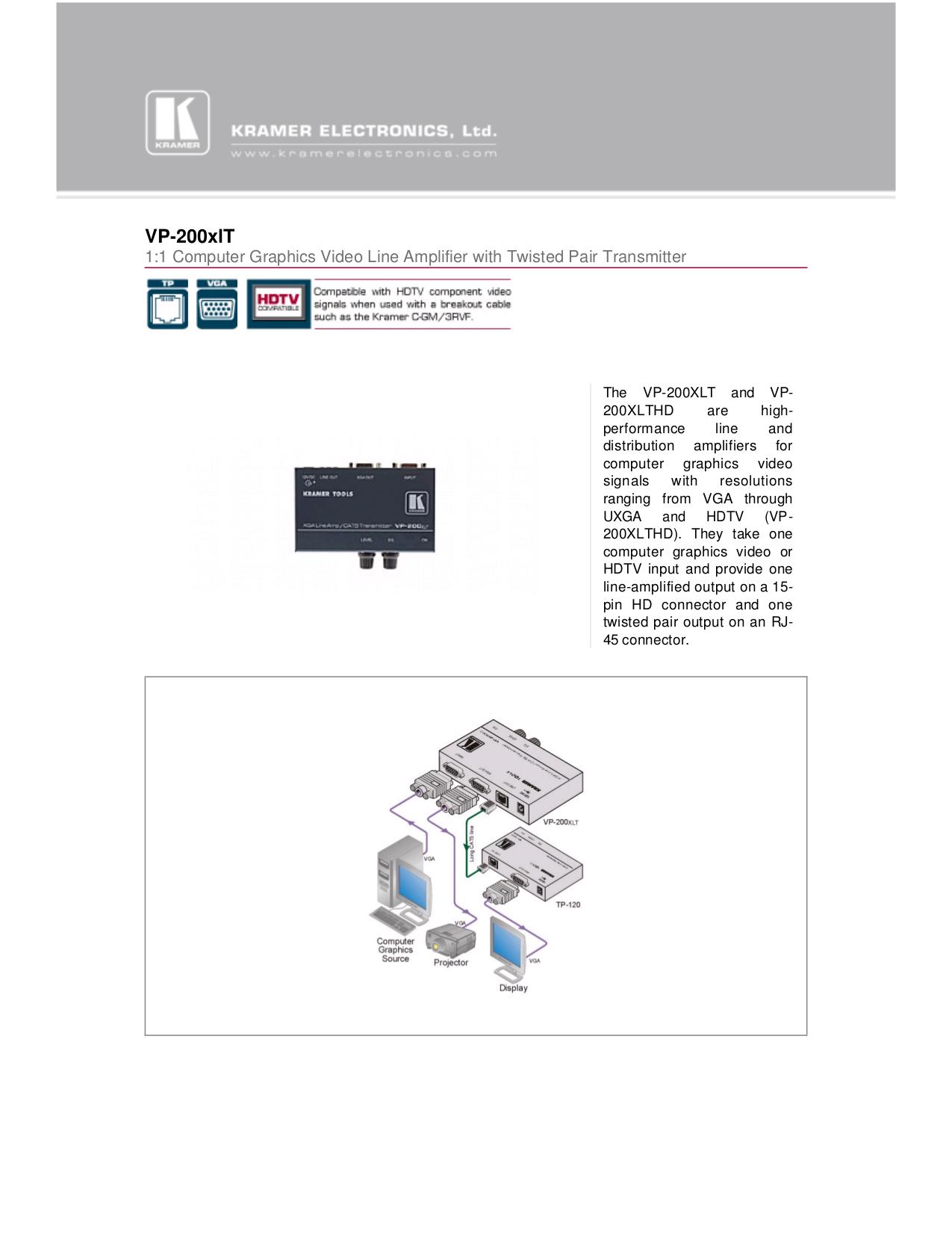 pdf for Kramer Other VP-200XLT Transmitters manual