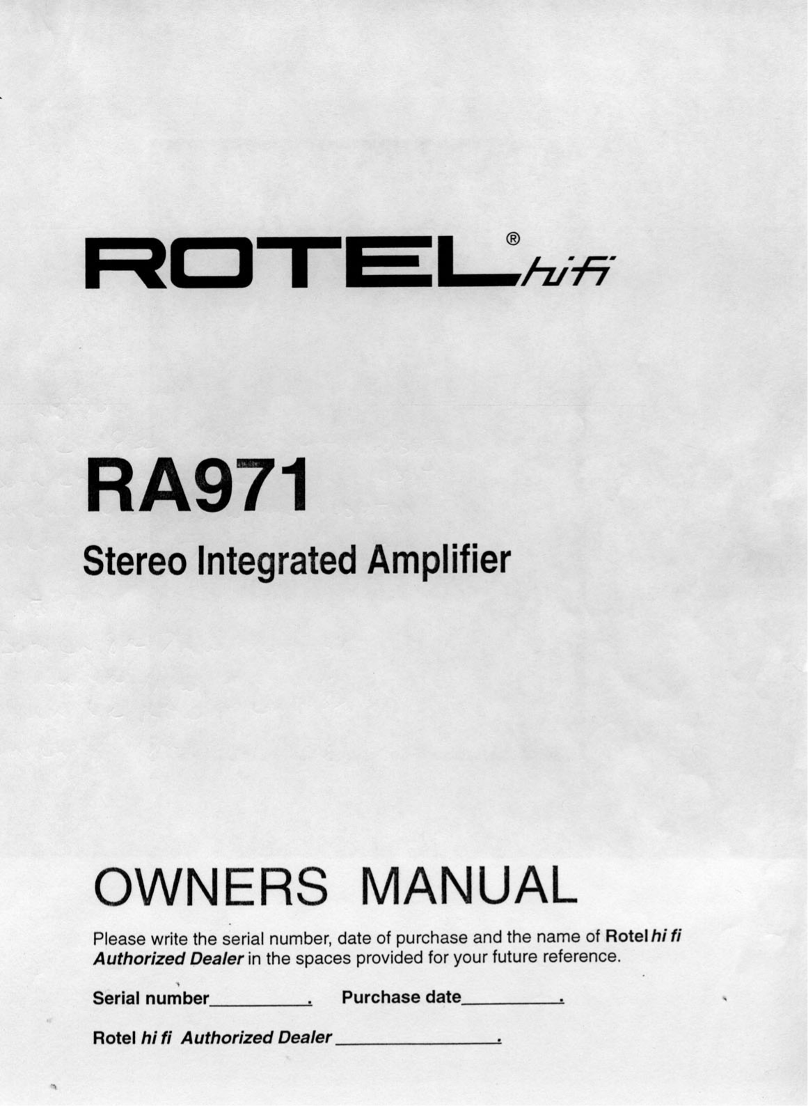 pdf for Rotel Amp RA-971 manual
