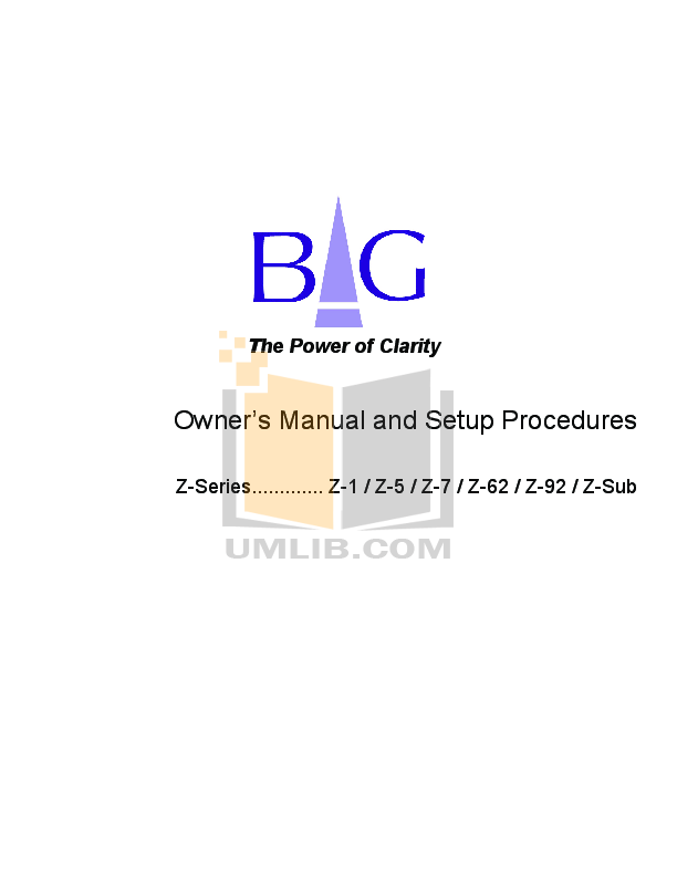 pdf for Bg Speaker Z-62 manual