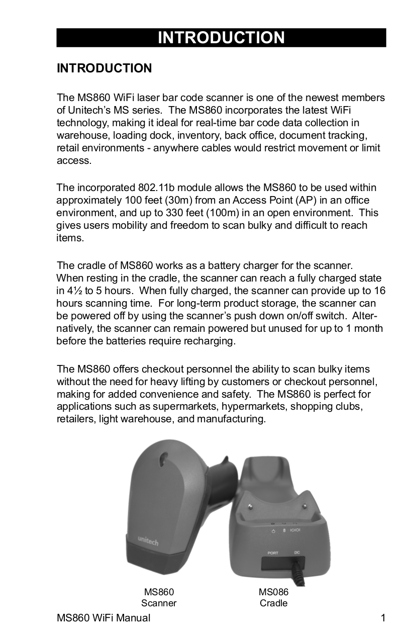 PDF manual for Unitech Scanner MS860 WiFi