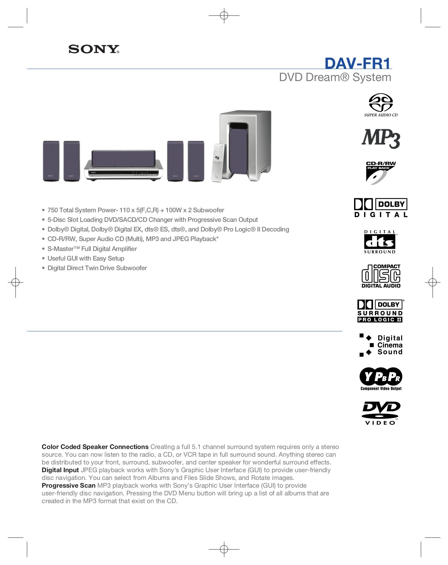 download free pdf for sony dav fr1 home theater manual rh umlib com Sony DAV S500 Sony Theater System DAV Is10