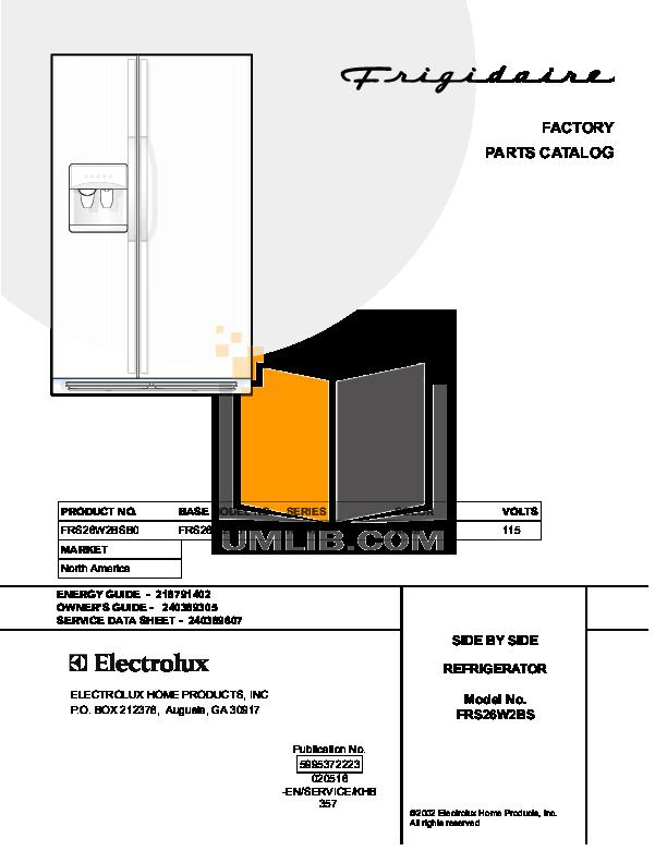 pdf for Frigidaire Refrigerator FRS26W2BSB0 manual