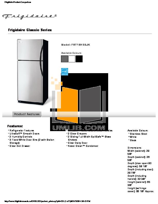 pdf for Frigidaire Refrigerator FRT18HS6JK manual