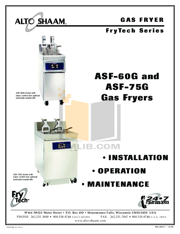 pdf for AltoShaam Other ASF-75E Fryers manual