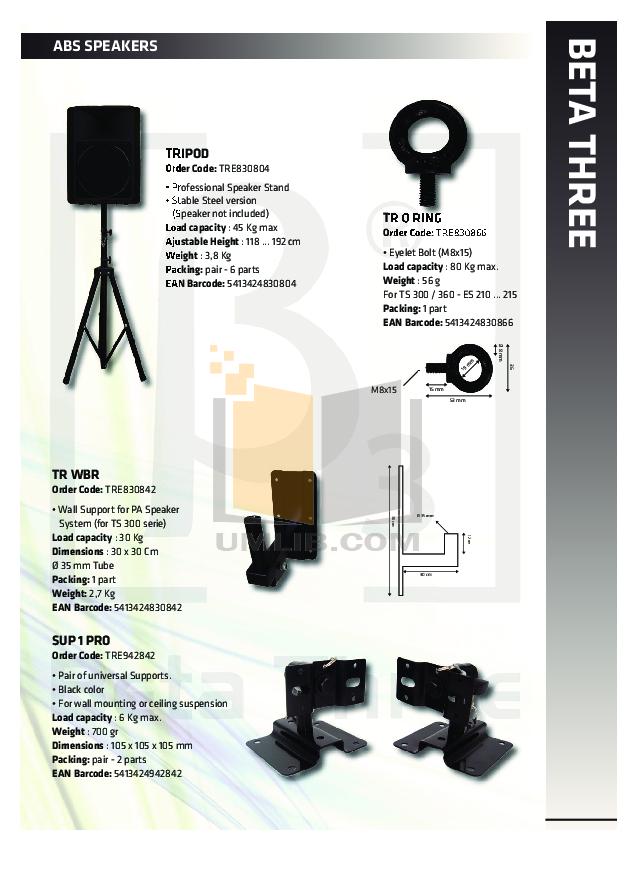PDF manual for Crown Speaker ES-212