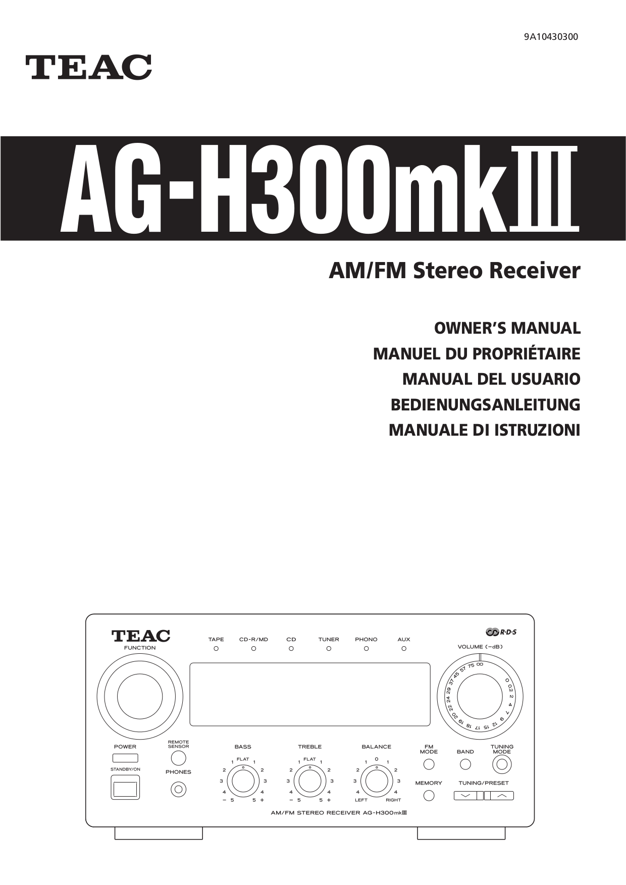 Download free pdf for Teac AG-H300 Receiver manual