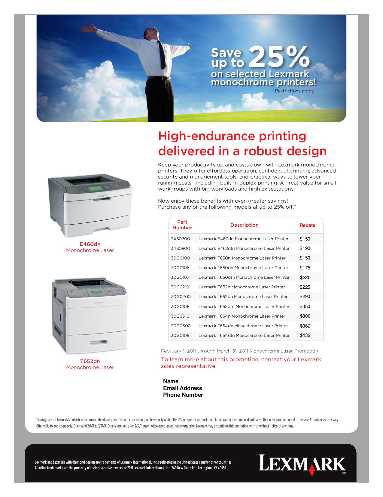 pdf for Lexmark Printer T650dn manual