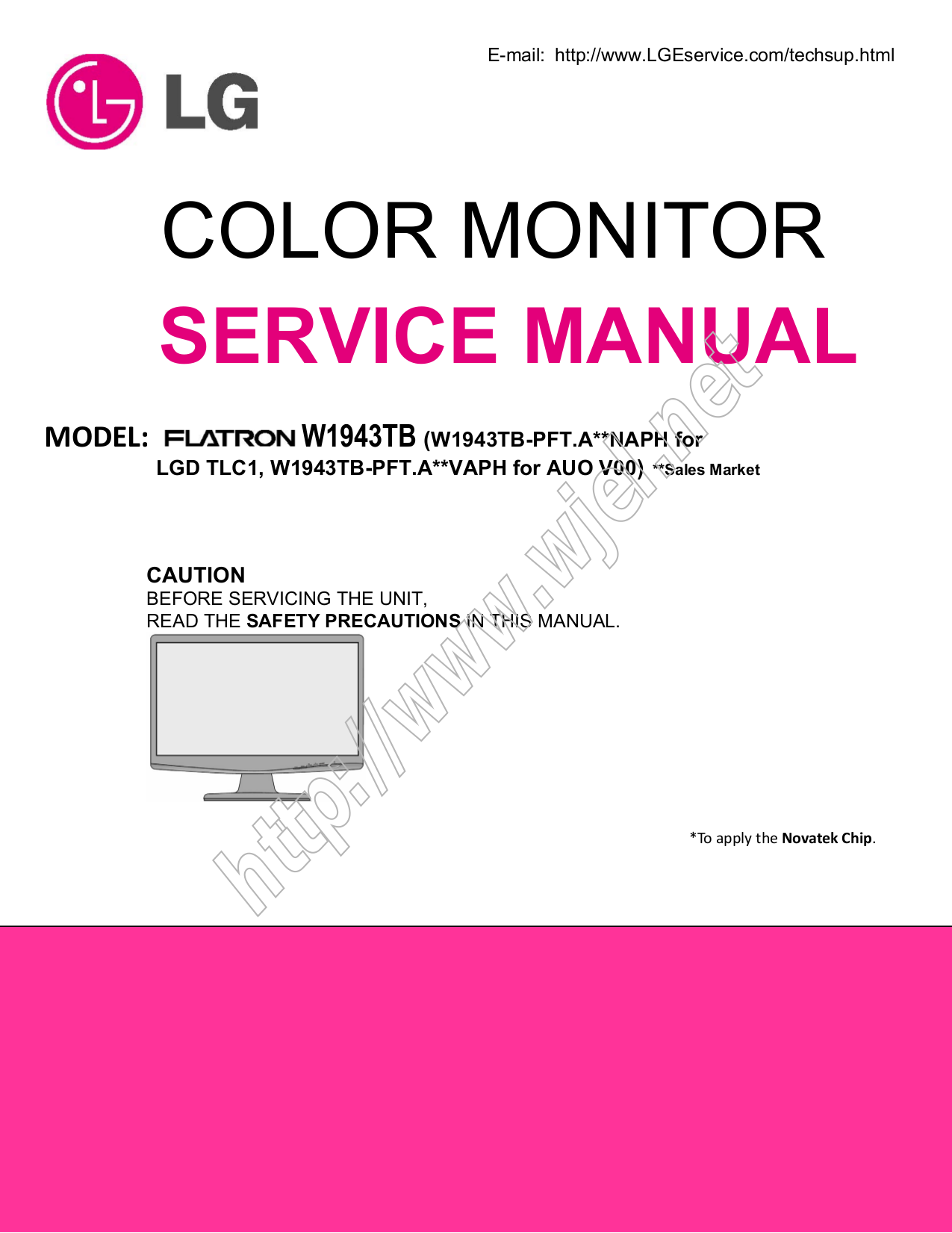 pdf for LG Monitor W1943TB manual