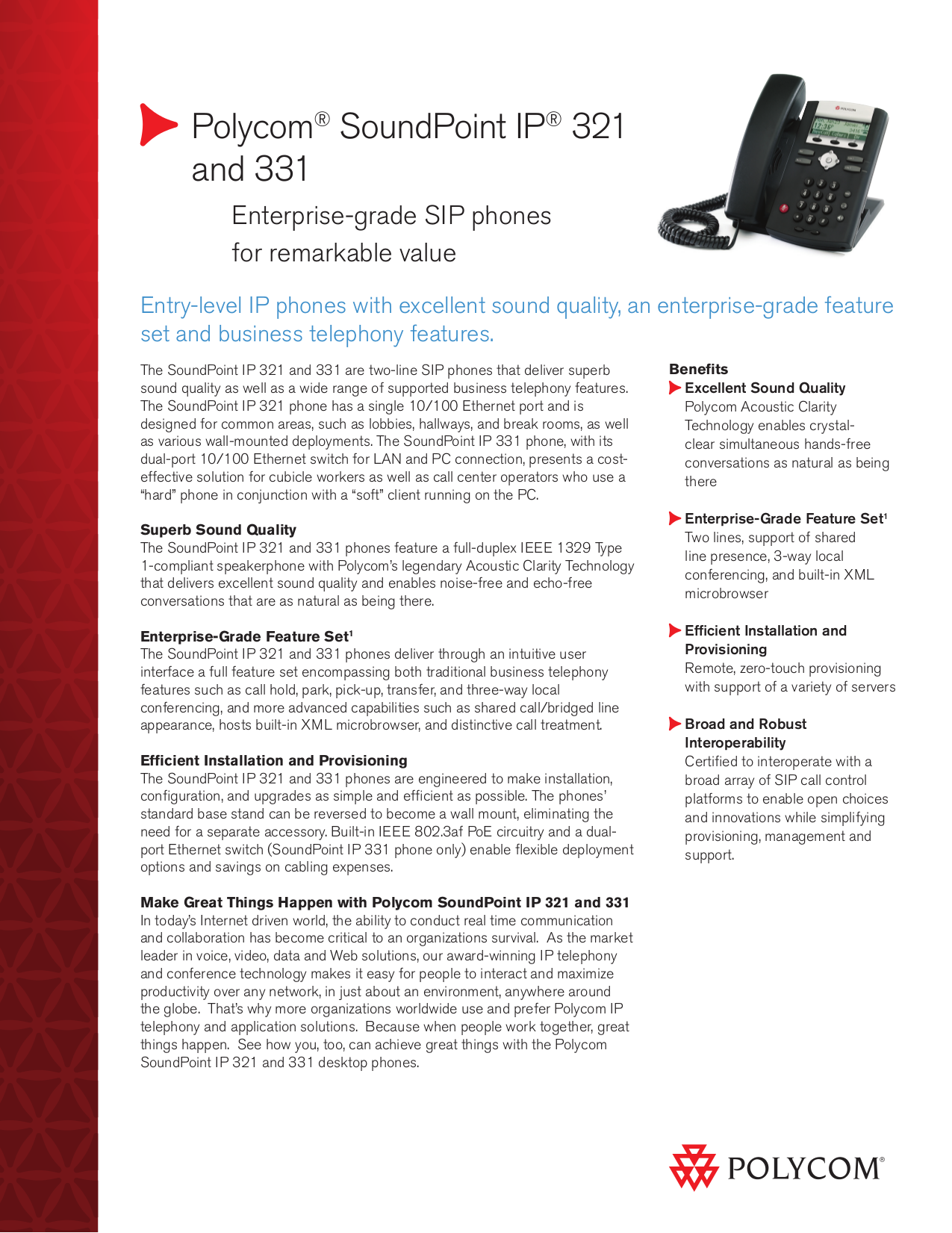 pdf for Polycom Telephone SoundPoint IP 321 manual