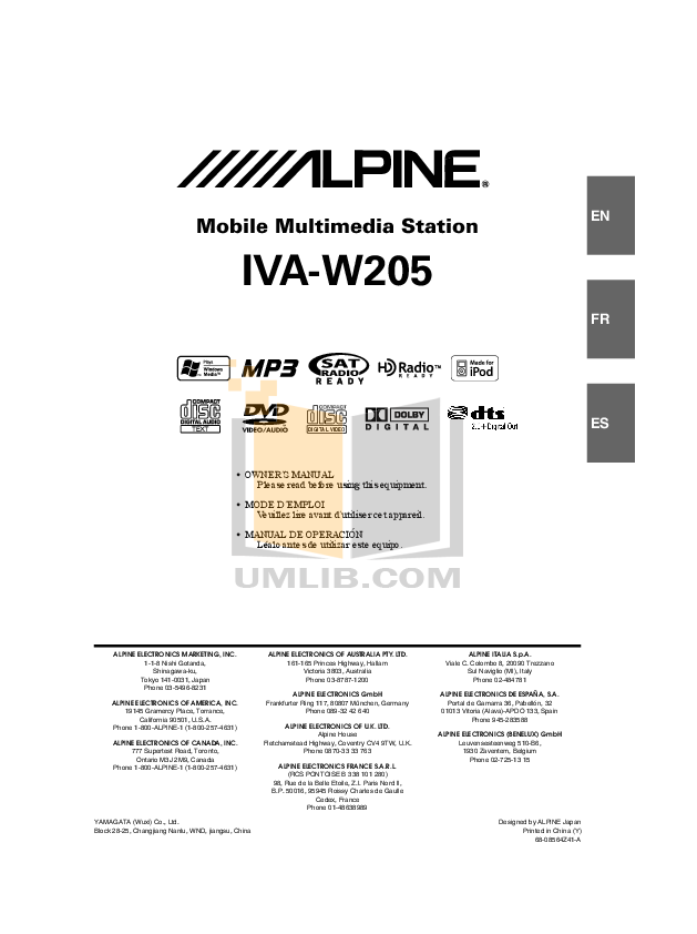 IVA W205.pdf 0 wat download free pdf for alpine iva w205 car video manual alpine cde 102 wiring diagram at gsmportal.co