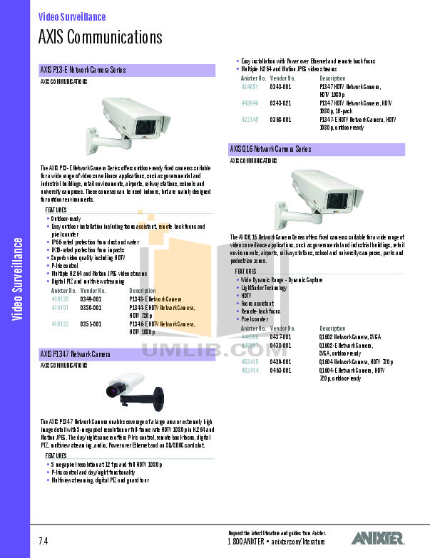Axis Security Camera M5013 pdf page preview