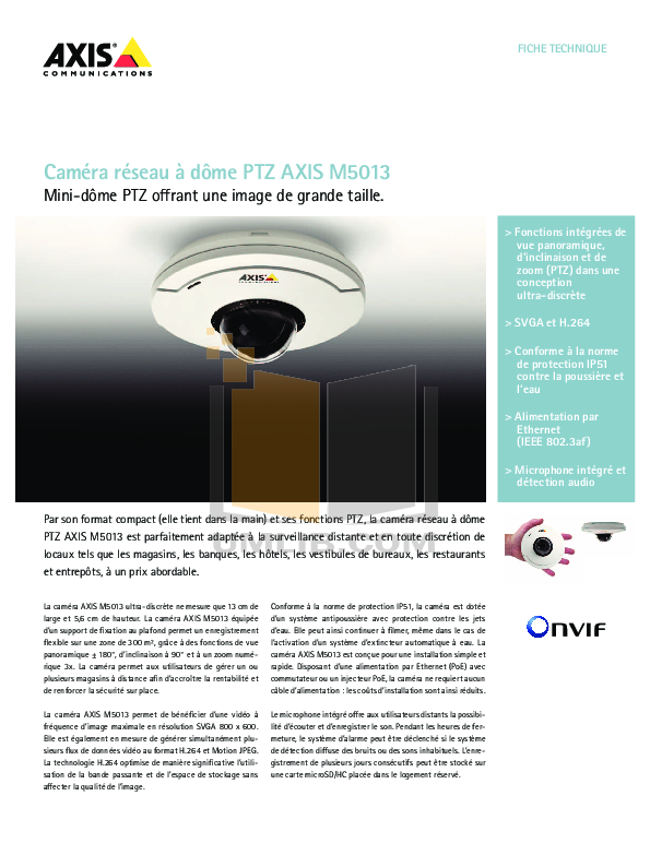pdf for Axis Security Camera M5013 manual