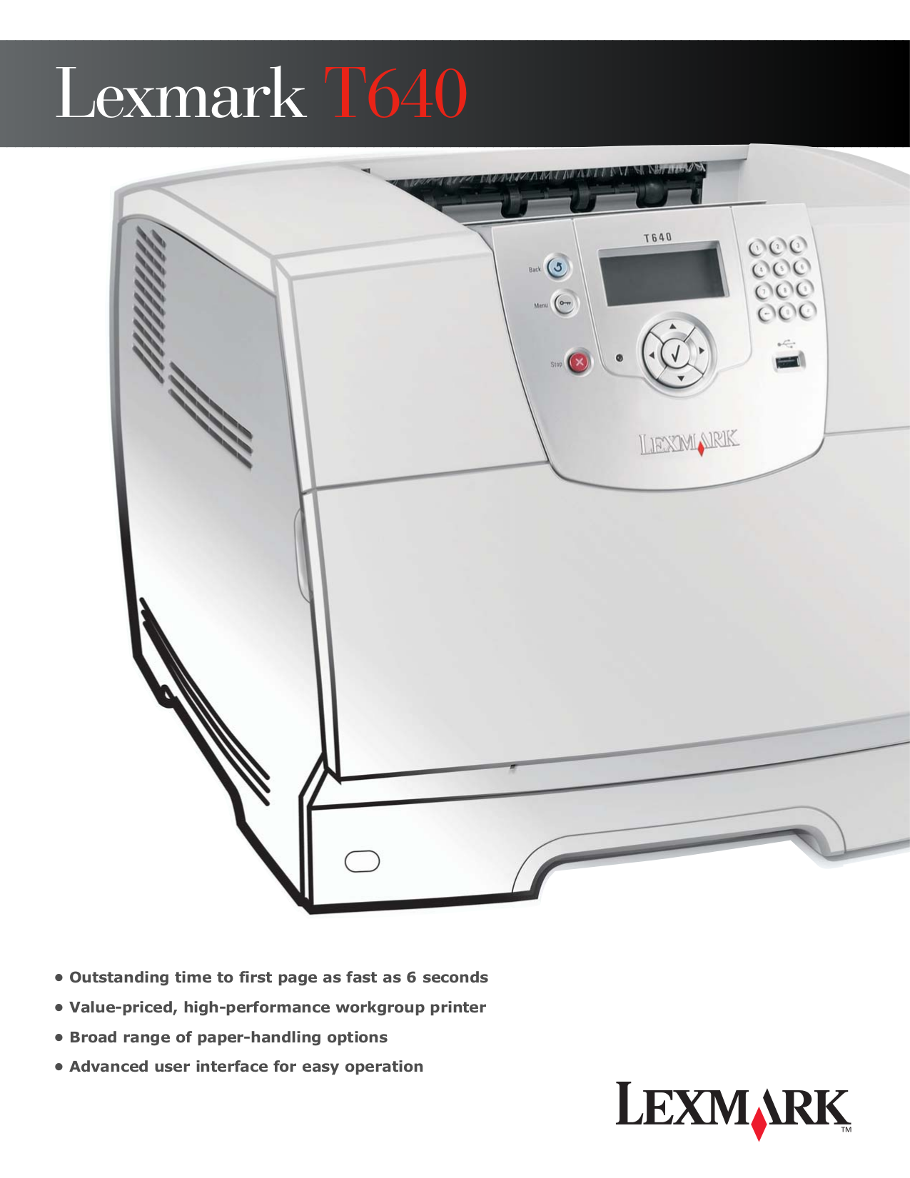 pdf for Lexmark Printer T640n manual
