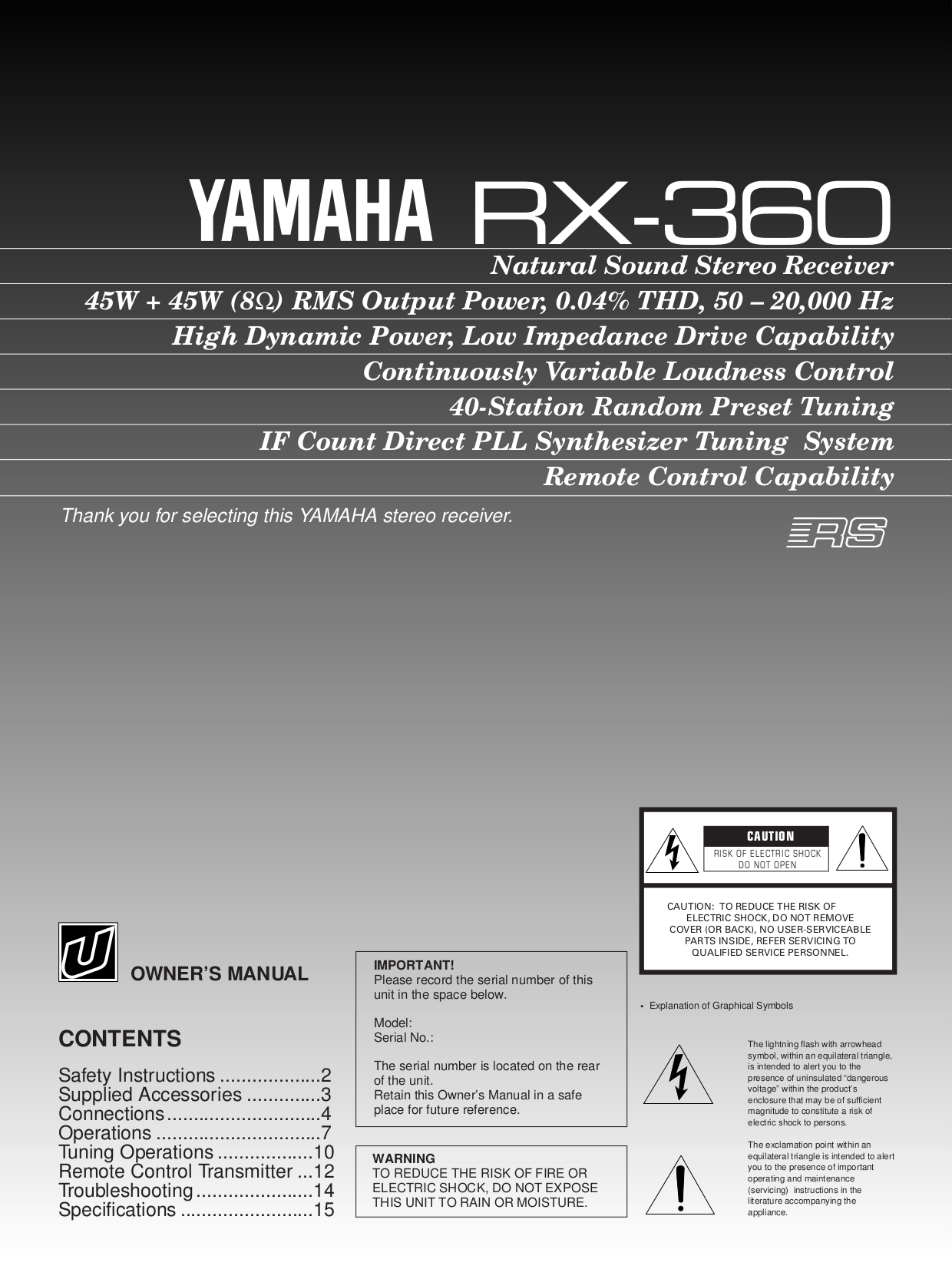 Download free pdf for yamaha rx 360 receiver manual for Yamaha rx 797 manual