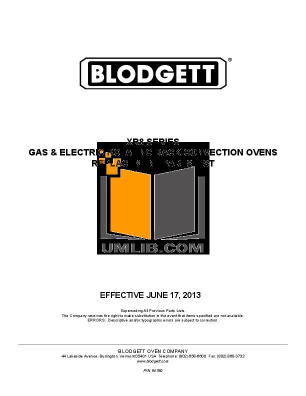 pdf for Blodgett Oven XR8-G manual