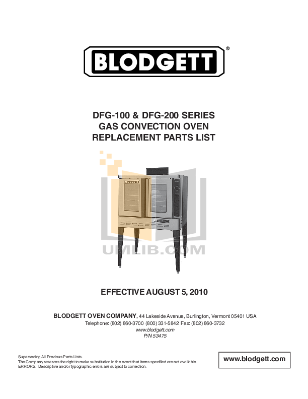 PDF manual for Blodgett Oven DFG100 DOUBLE on
