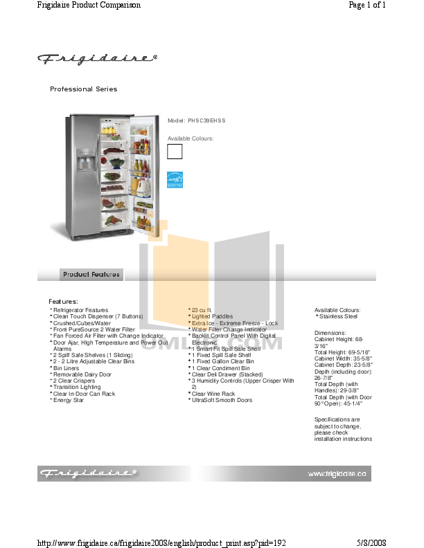 pdf for Frigidaire Refrigerator PHSC39EHSS manual