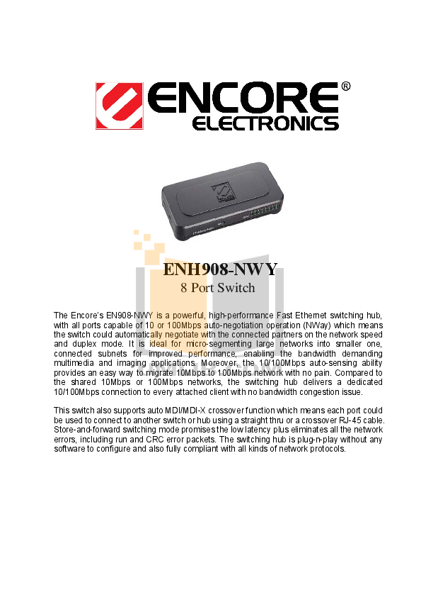 pdf for Encore Switch ENH908-NWY manual
