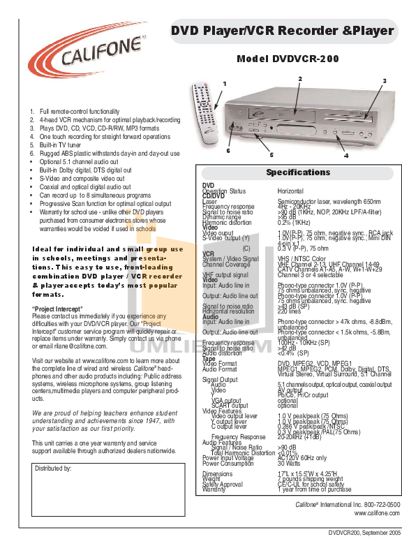 pdf for Califone DVD Players DVDVCR200 manual