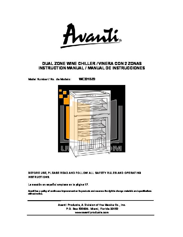 pdf for Avanti Refrigerator WC331DZD manual