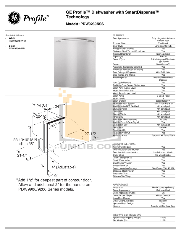 pdf for GE Dishwasher PDW9280NSS manual