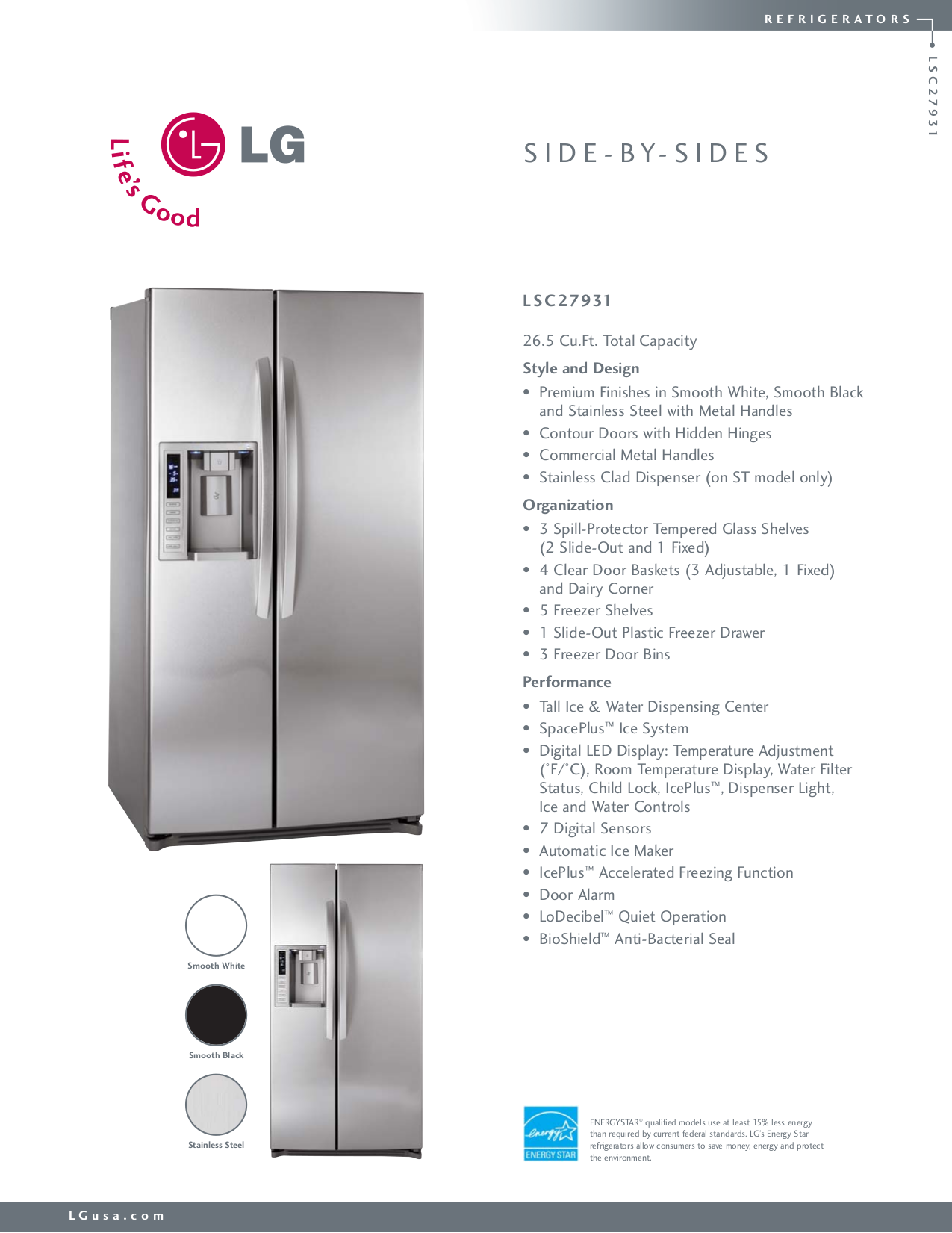 download free pdf for lg lsc27931st refrigerator manual rh umlib com lg refrigerators manuals pdf lg refrigerators manuals pdf