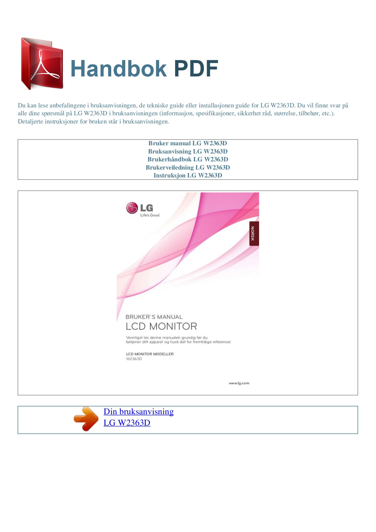 pdf for LG Monitor W2363D manual