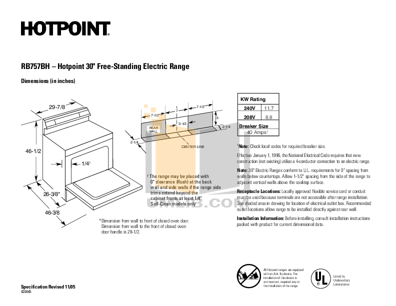 pdf for Hotpoint Range RB757EHBB manual