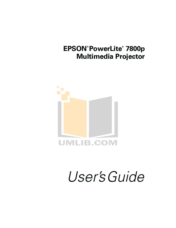 pdf for Epson Projector PowerLite 7800p manual