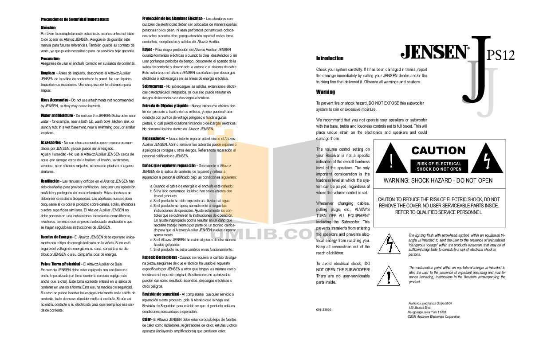 pdf for Audiovox Car Receiver JPS12 manual