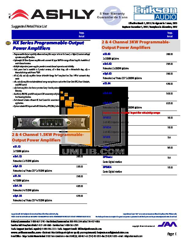 pdf for Ashly Amp NE8250.25 manual
