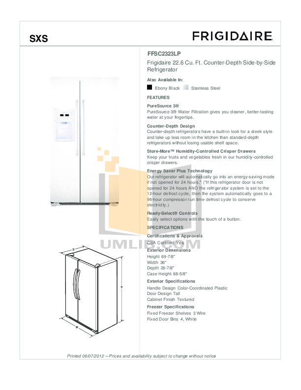 Frigidaire Refrigerator Gallery FGHS2332L pdf page preview