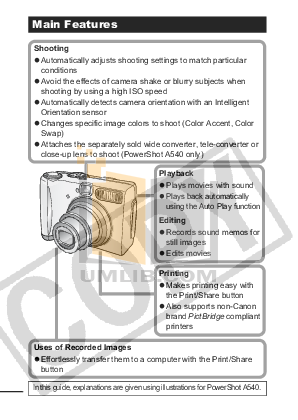 Canon Digital Camera Powershot A540 pdf page preview