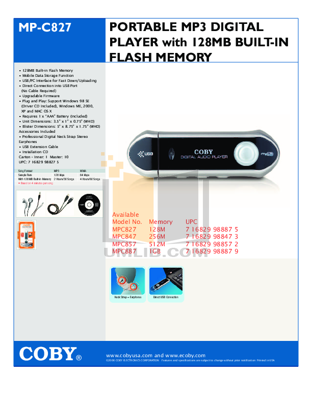 download free pdf for coby mp c827 mp3 player manual rh umlib com coby mp3 player manual online coby mp 300-1g mp3 player manual